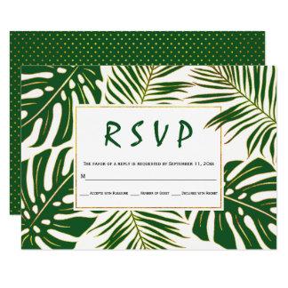 Tropical monstera, palm leaves green wedding RSVP Card