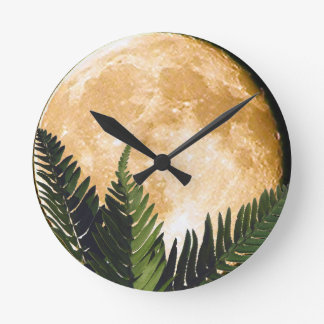 Tropical Moon Round Clock