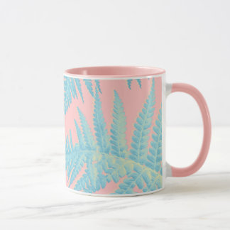 Tropical Mug with blue fern leaves
