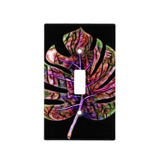 Tropical Neon Bright Leaf Light Switch Cover