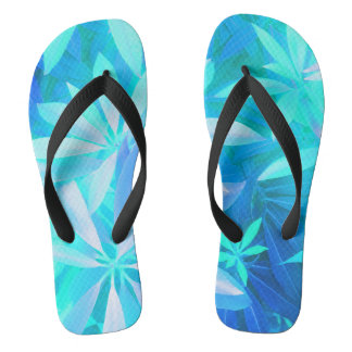Tropical neon foliage flip flops