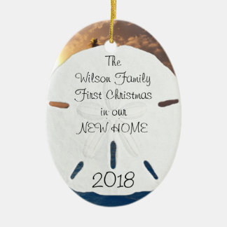 Tropical New Home Established Christmas Ceramic Ornament
