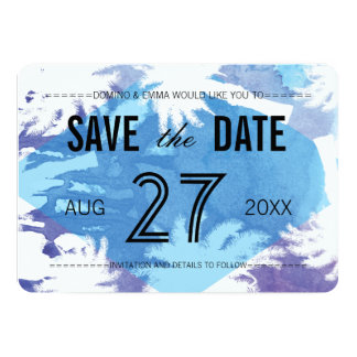 "Tropical Night Photo Save the Dates 5"" X 7"" Invitation Card"