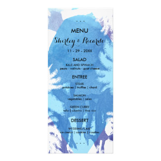 Tropical Night Wedding Menu Cards Rack Card Design