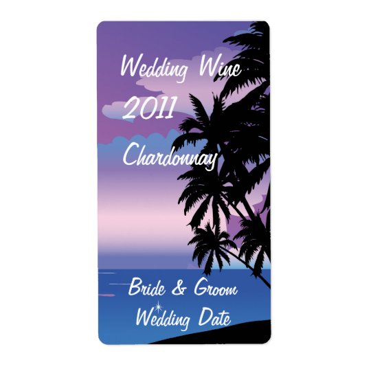Tropical Night  Wedding Wine Label