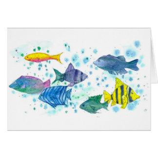 Tropical Ocean School of Fish Blank Note Card