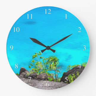 Tropical Ocean View Small Numbers Large Clock