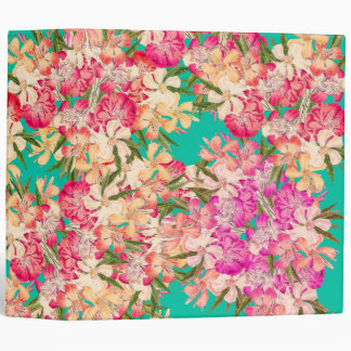 Tropical Oleander Flowers Floral Avery Binder