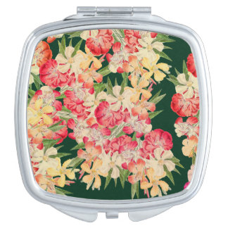Tropical Oleander Flowers Floral Compact Mirror