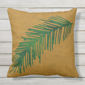 Tropical on Burlap background Outdoor Pillow