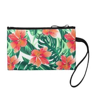 Tropical orange hibiscus coin purse