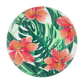 Tropical orange hibiscus cutting board