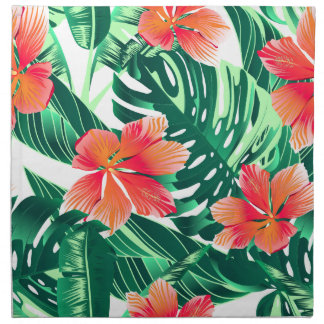Tropical orange hibiscus napkin