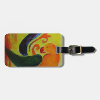 tropical orange luggage tag