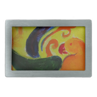 tropical orange rectangular belt buckle