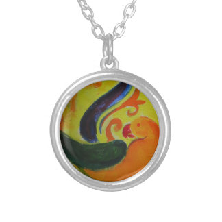 tropical orange silver plated necklace