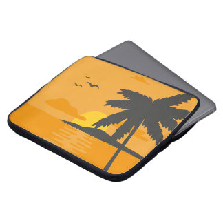 Tropical Orange Sunset & Palm Tree Laptop Sleeve
