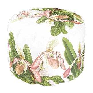 Tropical Orchid Flower Floral Islands Pouf Pillow