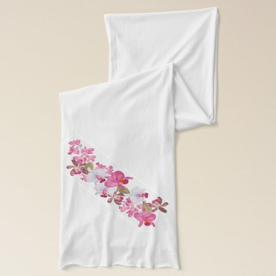 Tropical Orchid Flowers Floral Island Scarf