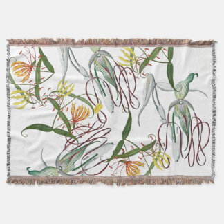 Tropical Orchid Gloriosa Lily Flower Throw Blanket