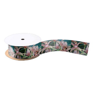 Tropical Orchids Floral Satin Ribbon
