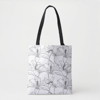 Tropical Outlines Floral Tote Bag