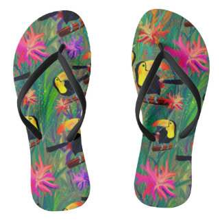 TROPICAL PAINTED TOUCAN BIRD AND FLOWERS FLIP FLOPS