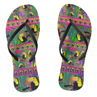 TROPICAL PAINTED TOUCAN BIRD STRIPES FLIP FLOPS
