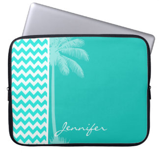 Tropical Palm; Aqua Color Chevron Computer Sleeve
