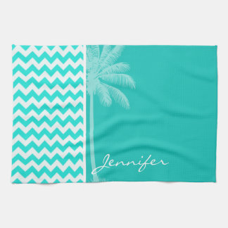 Tropical Palm; Aqua Color Chevron Kitchen Towel