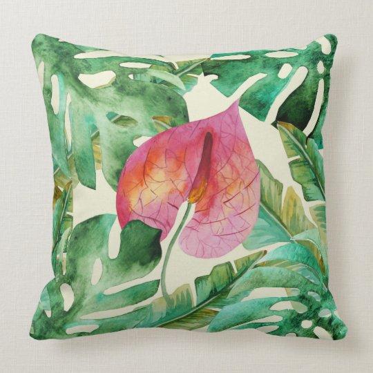 Tropical Palm Banana Botanical Leaf Pattern Throw Pillow