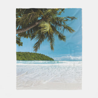 Tropical Palm Beach Fleece Blanket