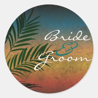 Tropical Palm Beach Wedding Envelope Seal