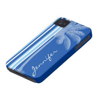 Tropical Palm; Blue & White Stripes Case-Mate iPhone 4 Case