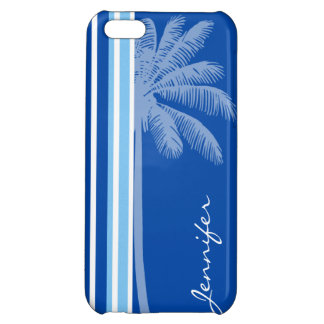 Tropical Palm Blue White Stripes iPhone 5C Covers