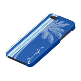 Tropical Palm; Blue & White Stripes Cases For iPhone 5