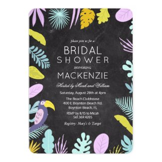 Tropical Palm Bridal Shower Macaw Bird Invitation