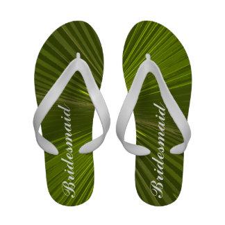 Tropical Palm Bridesmaid Beach Wedding Flip Flops