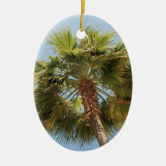 Tropical palm ceramic oval ornament