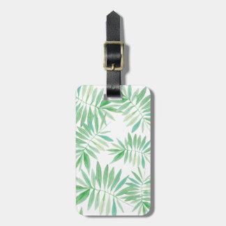 Tropical palm fern storm luggage tag
