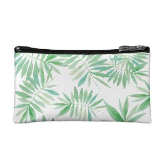 Tropical palm fern storm makeup bags