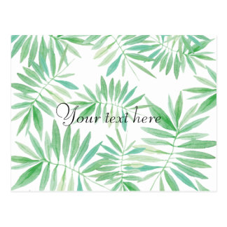 Tropical palm fern storm postcard