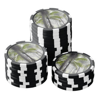 Tropical palm forest set of poker chips
