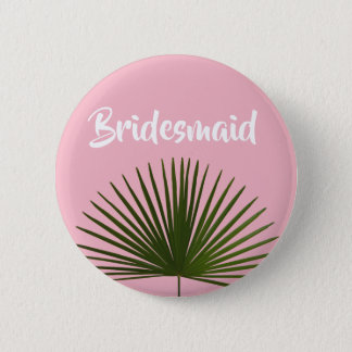 Tropical Palm Frond Leaf Wedding 2 Inch Round Button