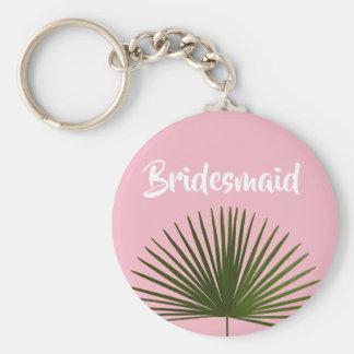 Tropical Palm Frond Leaf Wedding Keychain