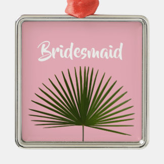 Tropical Palm Frond Leaf Wedding Metal Ornament
