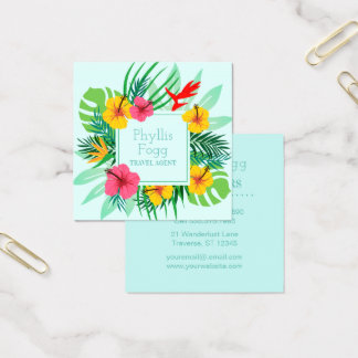 Tropical Palm Frond Travel Agency Agent Square Business Card