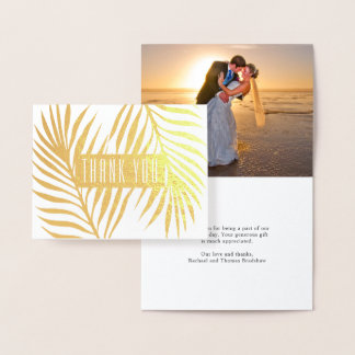 Tropical Palm Fronds Wedding Photo Thank You Foil Card
