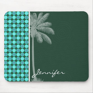 Tropical Palm; Green & Turquoise Polka Dot Mousepads