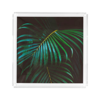 Tropical Palm Leaf Calm Green Minimalistic Acrylic Tray